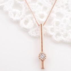 ネックレス レディース 一粒ダイヤモンド 18金 ストレートライン 縦長 Iライン ペンダント ゴールド K18 チェーン Diamond Necklace クリスマス プレゼント xmas