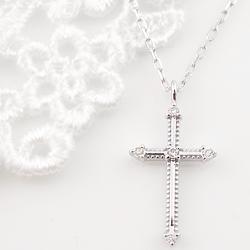 ネックレス レディース クロス プラチナ ネックレス ダイヤモンド ペンダント Pt900 Pt850 十字架 ミルウチ necklace クリスマス プレゼント xmas