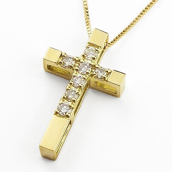 ネックレス レディース クロスダイヤモンドネックレス イエローゴールドK18 18金 ペンダント 十字架 ゴールド 18金 チェーン クリスマス プレゼント xmas
