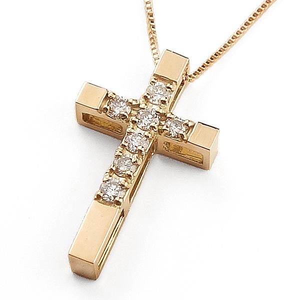 ネックレス レディース クロスネックレス ダイヤモンド ピンクゴールド K10 ベネチアン ペンダント 十字架 ゴールド 10金 チェーン クリスマス プレゼント xmas