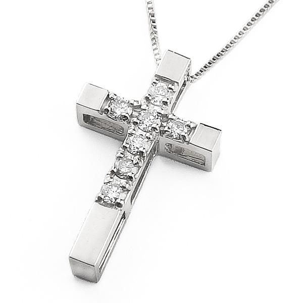 ネックレス レディース クロス ダイヤモンド ネックレス ホワイトゴールドK10 ゴールド 10金 チェーン ペンダント 十字架 クリスマス プレゼント xmas