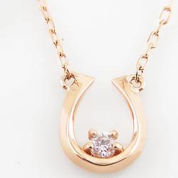 ネックレス レディース ホースシュー 馬蹄ネックレス 一粒 ダイヤモンド 馬蹄 モチーフ 18金 3色 ペンダント アズキチェーン ゴールド 大人ジュエリー ホワイトデー プレゼント