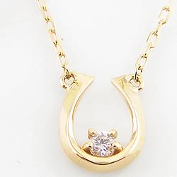 ネックレス レディース ホースシュー 馬蹄ネックレス 一粒 ダイヤモンド 馬蹄 モチーフ 10金 3色 ペンダント アズキチェーン ゴールド ホワイトデー プレゼント