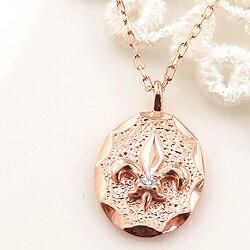 ネックレス レディース ネックレス ユリの紋章 フルールドリス 一粒ダイヤモンド 10金 K10 ゴールド ペンダント アズキチェーン 40cm シンプル 文字入れ 刻印 可能 首飾り ホワイトデー プレゼント