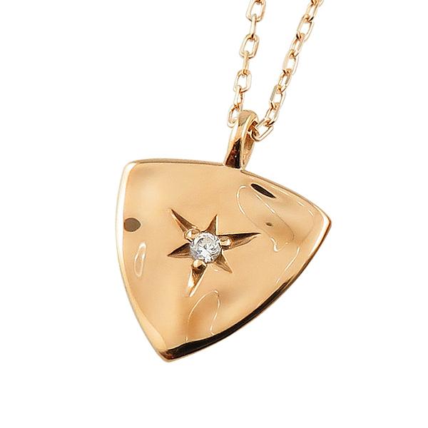 ネックレス レディース ネックレス 一粒 ダイヤモンド ネックレス 18金 K18 ゴールド ピックデザイン 三角形 バンド ギター ペンダント アズキチェーン 40cm 首飾り クリスマス プレゼント xmas