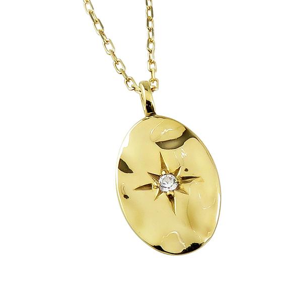ネックレス レディース ネックレス 一粒 ダイヤモンド 10金 K10 ゴールド オーバル形 小判型 ペンダント アズキチェーン 40cm 天然ダイヤ 首飾り クリスマス プレゼント xmas
