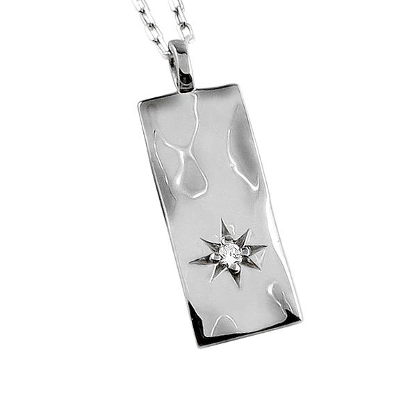 ネックレス レディース ネックレス 一粒 ダイヤモンド プラチナ Pt900 Pt850 プレート 長方形 モチーフ ペンダント アズキチェーン 40cm 天然ダイヤ 首飾り ホワイトデー プレゼント