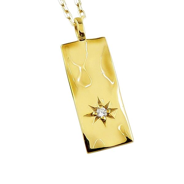 ネックレス レディース ネックレス 一粒 ダイヤモンド 10金 K10 ゴールド 長方形 プレート モチーフ ペンダント アズキチェーン 40cm 天然ダイヤ 首飾り クリスマス ホワイトデー プレゼント