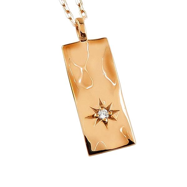 ネックレス レディース ネックレス 一粒 ダイヤモンド 18金 K18 ゴールド 長方形 モチーフ ペンダント アズキチェーン 40cm 天然ダイヤ 首飾り クリスマス プレゼント xmas