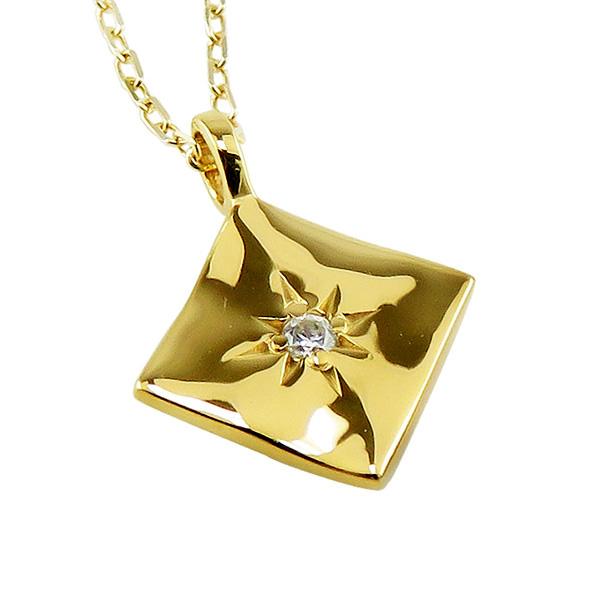 ネックレス レディース ネックレス 一粒 ダイヤモンド 10金 K10 ゴールド ひし形 ダイヤ形 モチーフ ペンダント アズキチェーン 40cm 天然ダイヤ 首飾り ホワイトデー プレゼント