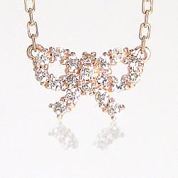 ネックレス レディース リボンネックレス ダイヤモンドネックレス K10 ペンダント モチーフ 誕生日 結婚記念日 プレゼント選びに クリスマス プレゼント xmas