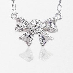 ペンダントネックレス プラチナ900 プラチナ850 リボンプチネックレス 天然ダイヤモンド