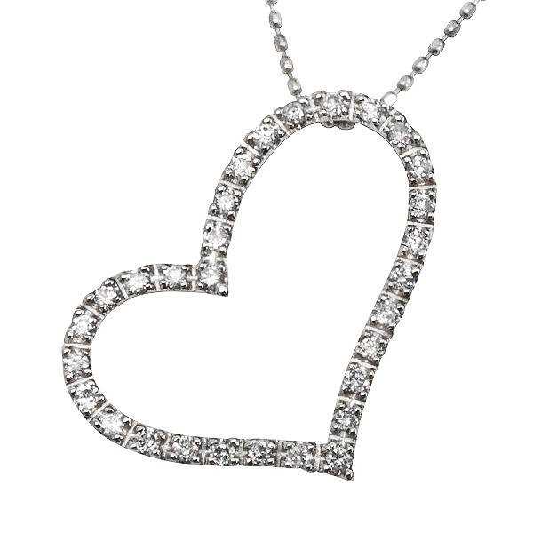 ハートペンダント/天然ダイヤモンド0.30ct/ホワイトゴールドK18/ジュエリーショップ