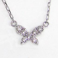 プラチナ900 天然ダイヤモンド ネックレス ペンダント Pt900 Pt850 蝶 プチアクセサリー