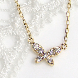 ネックレス ペンダント ダイヤモンド 蝶 ホワイトゴールドK18 ピンクゴールドK18 イエローゴールドK18