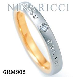 結婚指輪 プラチナ900 K18イエローゴールド ダイヤモンド マリッジリング ニナリッチ 6RM902  プラチナ結婚指輪 イエローゴールド結婚指輪 ペア結婚指輪 刻印無料結婚指輪 送料無料結婚指輪 シンプル結婚指輪 ブライダル結婚指輪