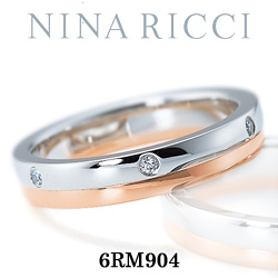 結婚指輪 プラチナ900 K18ピンクゴールド ダイヤモンド マリッジリング ニナリッチ 6RM904  プラチナ結婚指輪 ピンクゴールド結婚指輪 ペア結婚指輪 刻印無料結婚指輪 送料無料結婚指輪 シンプル結婚指輪 ブライダル結婚指輪