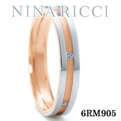 結婚指輪 プラチナ900 K18ピンクゴールド ダイヤモンド マリッジリング ニナリッチ 6RM905  プラチナ結婚指輪 ピンクゴールド結婚指輪 ペア結婚指輪 刻印無料結婚指輪 送料無料結婚指輪 シンプル結婚指輪 ブライダル結婚指輪