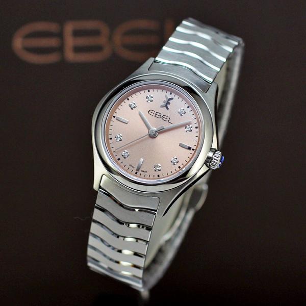 エベルは安心の正規販売店で EBEL WAVE ウェーブ レディス SS ピンクダイヤル 正規輸入品 Ref.1216217