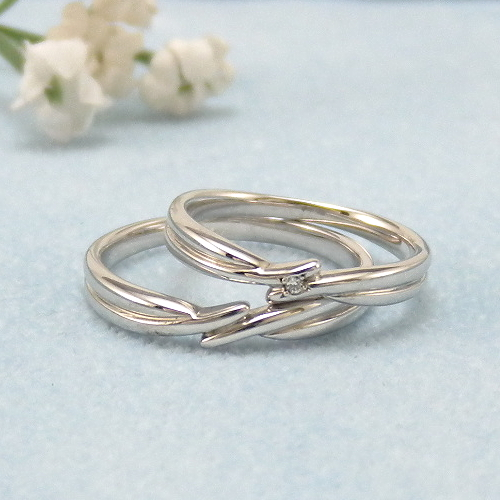 見てから決める!>>K18WG 結婚指輪 アムール【amour】 ディアレスト マリッジリング ペアリング 2本セット ◆サンプル貸出サービスあり!◆