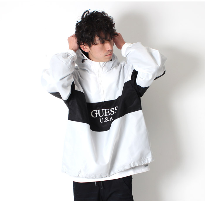 The dance tops street casual 80s 90s in the spring and summer latest アノラックジャケットゲスグリーンレーベル GUESS GREEN LABEL ANORACK windbreaker long sleeves
