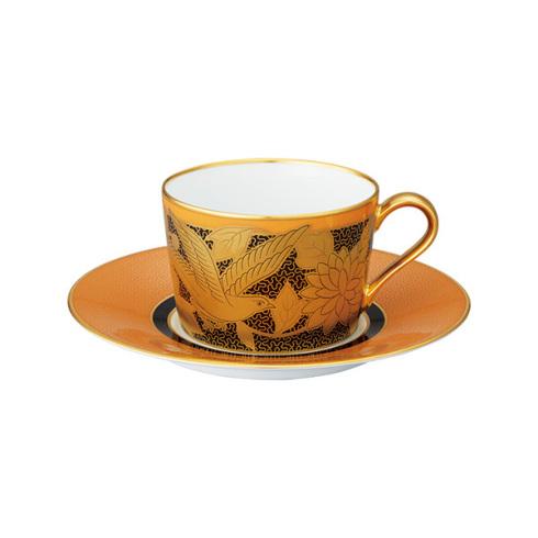 【クーポン配布】  ノリタケ 食器 オマージュコレクション カプチーノ碗皿(橙絵花鳥文)お祝い 内祝い プレゼント のし ラッピング メッセージカード 無料