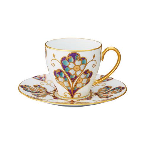 【クーポン配布】  ノリタケ 食器 オマージュコレクション コーヒー碗皿(雲母金彩花文)お祝い 内祝い プレゼント のし ラッピング メッセージカード 無料