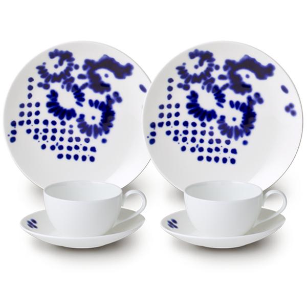 ニッコー 食器 フラワードッツ - 青が美しい、食卓の花々- ペアティタイムセット【プレゼント/ギフト/GIFT】【ラッピング/包装/のし/熨斗/メッセージ】対応できます♪ p