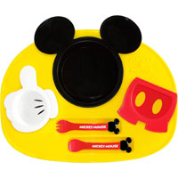 ミッキーマウスの食器で 実物 お食事タイムも楽しく ミッキーマウス アイコン ランチプレート 錦化成 6点セット ベビー 食器セット 激安特価品
