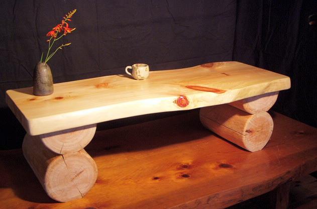 コーヒーテーブル幅120cm丸太足!