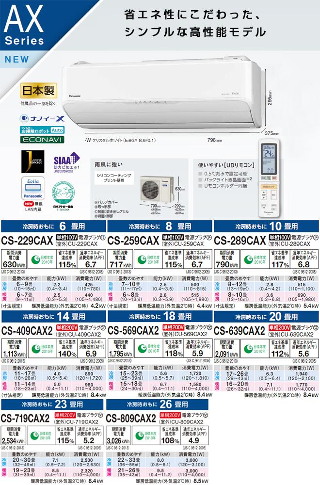 [CS-639CAX2-W] パナソニック ルームエアコン AXシリーズ Eolia エオリア 冷房/暖房:20畳程度 2019年モデル 単相200V・20A クリスタルホワイト