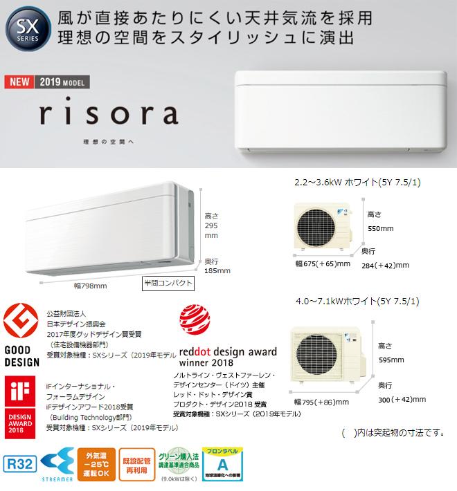 [S71WTSXP-M] ダイキン ルームエアコン risora(リソラ) SXシリーズ スタイリッシュデザインモデル 冷房/暖房:23畳程度 2019年モデル 単相200V・20A 室内電源タイプ ウォルナットブラウン 本体色:ダークグレー