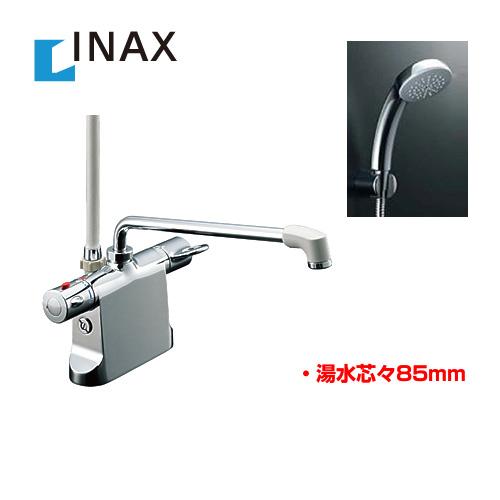 【後継品での出荷になる場合がございます】[BF-B646TSC--300-A85] INAX 浴室水栓 シャワー水栓 蛇口 サーモスタットシャワー金具 浴槽・洗い場兼用 エコフルスプレーシャワーメッキ仕様付 【パッキン無料プレゼント!(希望者のみ)※同送の為開梱します】 デッキタイプ 台付