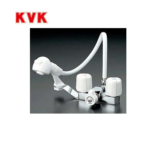 [KF12F2-1E]KVK 洗面水栓 ツーホールタイプ(台付き) 2ハンドル洗髪シャワー 一時止水 排水栓なし 逆止弁 快適節水 取付穴径(mm):φ22~24 洗面台 洗面所 蛇口 【パッキン無料プレゼント!(希望者のみ)】 おしゃれ