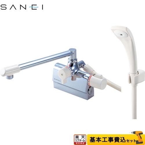 【リフォーム認定商品】【工事費込セット(商品+基本工事)】[SK78D-13] 三栄 浴室水栓 E-MIX 台付サーモスタット式 スパウト長さ240mm SANEI パッキン