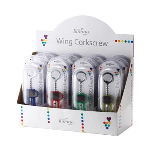 [8404] ファンヴィーノ ワイン ワインオープナー ウィングコルクスクリュー ディスプレーセット 12本入 165×380×250 1セット プラスチック、ステンレス 【送料無料】【メーカー直送のため代引不可】