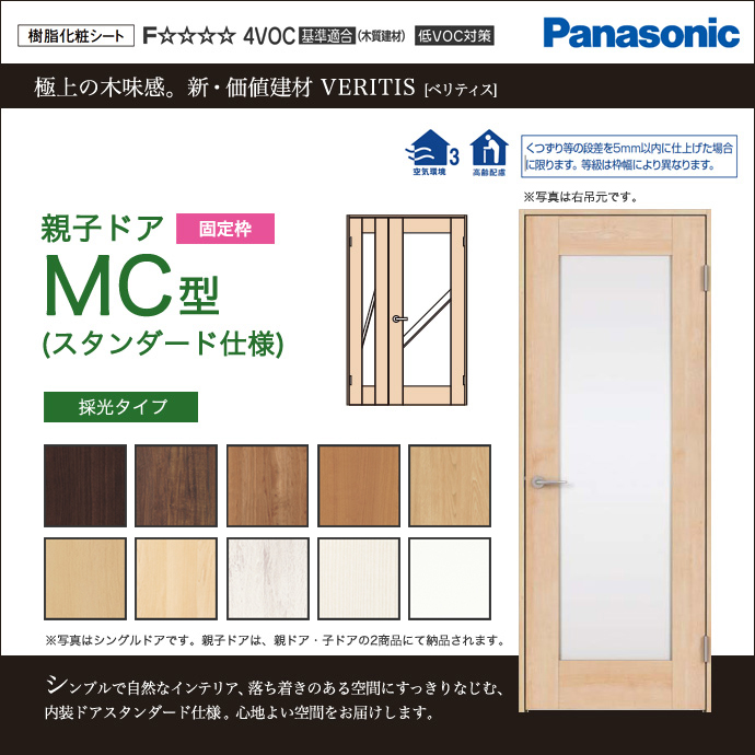 Panasonic パナソニック ベリティス親子ドア MC型 スタンダード仕様 XMJE1MC◇N04R(L)74□サイズオーダー可能 内装 ドア 戸 開き戸 激安