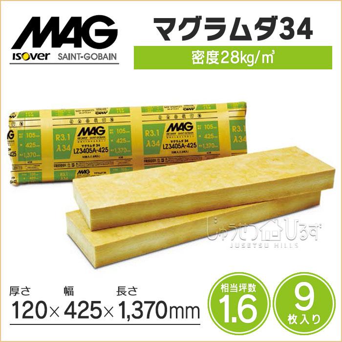 MAG(マグ) 断熱材 マグラムダ34 LZ3412A-425密度28kg/m3 120×425×1370mm 相当坪数1.6 入数9枚 住宅用断熱材 グラスウール 高性能品 防湿層なし 壁用・屋根用 断熱材 高性能グラスウール 耐火・防露・撥水 建築材料DIY 暑さ対策 リフォーム