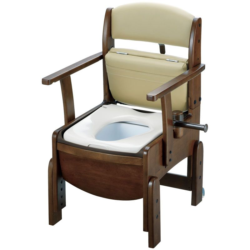 リッチェル 木製トイレ きらく コンパクト(固定式肘掛けタイプ) 普通便座 【品番:18510】