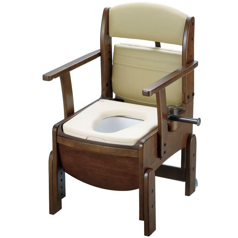 リッチェル 木製トイレ きらく コンパクト(固定式肘掛けタイプ) やわらか便座 【品番:18520】