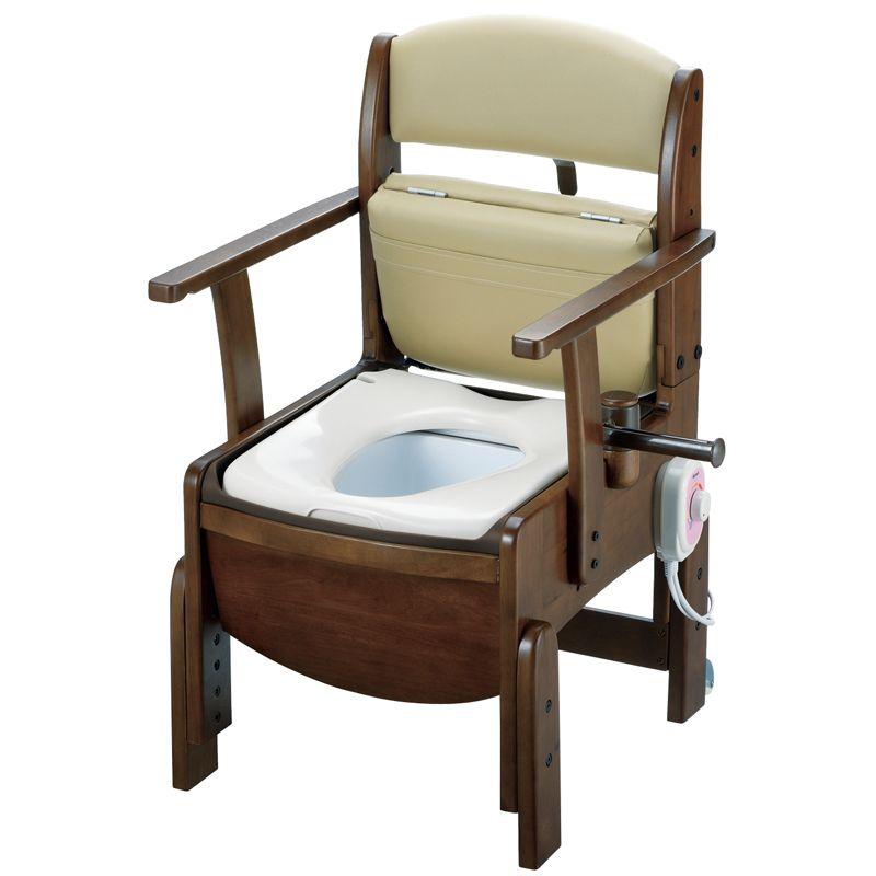 リッチェル 木製トイレ きらく コンパクト(固定式肘掛けタイプ) 暖房便座 【品番:18530】