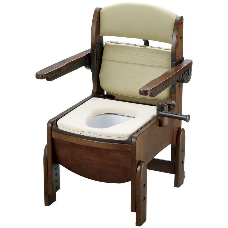 リッチェル 木製トイレ きらく コンパクト 肘掛跳ね上げ(跳ね上げ式肘掛けタイプ) やわらか便座 【品番:18560】