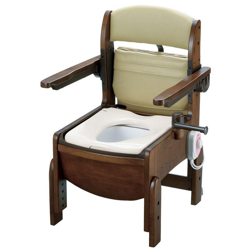 リッチェル 木製トイレ きらく コンパクト 肘掛跳ね上げ(跳ね上げ式肘掛けタイプ) 暖房便座 【品番:18570】