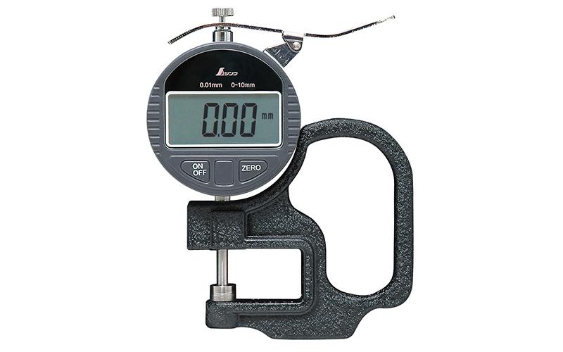 シンワ測定 デジタルシックネスキャリパー A 0.01mm/10mm ハンドル付 【品番:73746】