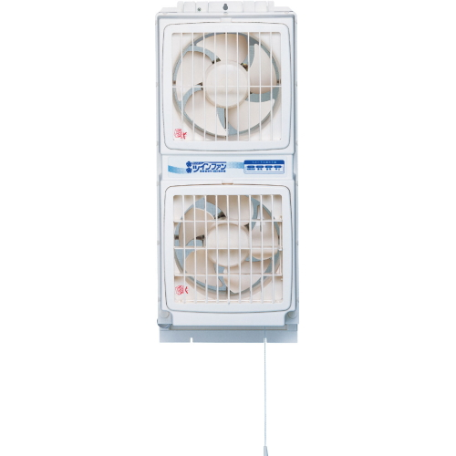 高須産業 同時給排形窓用換気扇 ウィンドウ・ツインファン(引きヒモタイプ) 【品番:FMT-200P】