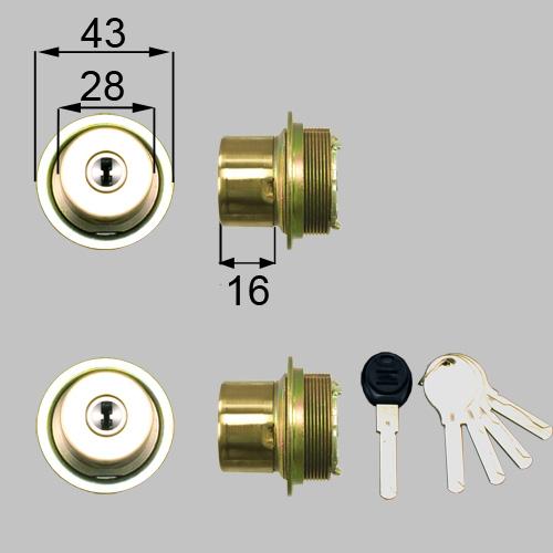 LIXIL(トステム) ドア錠セット(ユーシン Wシリンダー)内筒のみ ゴールド 【品番:DDZZ2001】
