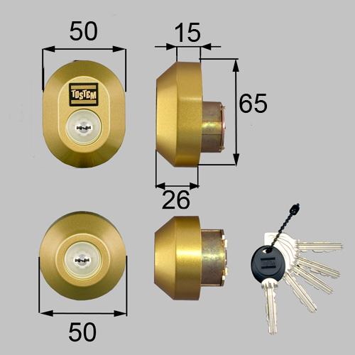 LIXIL(トステム) ドア錠セット(MIWA URシリンダー)楕円 ゴールド 【品番:DRZZ1003】