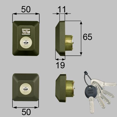 LIXIL(トステム) ドア錠セット(MIWA DNシリンダー)長方形 ブラウン 【品番:D5GZ3004】