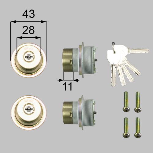 LIXIL(トステム) ドア錠セット(MIWA URシリンダー )内筒のみ ブロンズ 【品番:L1X80】