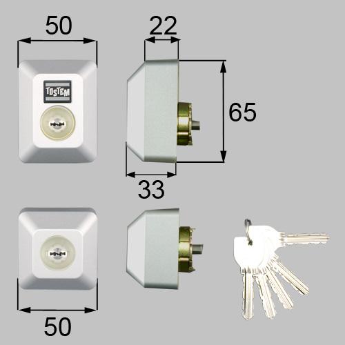 LIXIL(トステム) ドア錠セット(MIWA URシリンダー)長方形 グレー 【品番:DDZZ1013】